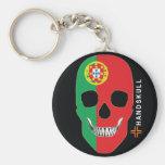 HANDSKULL Portugal,Happy skull,Portugal flag Basic Round Button Keychain