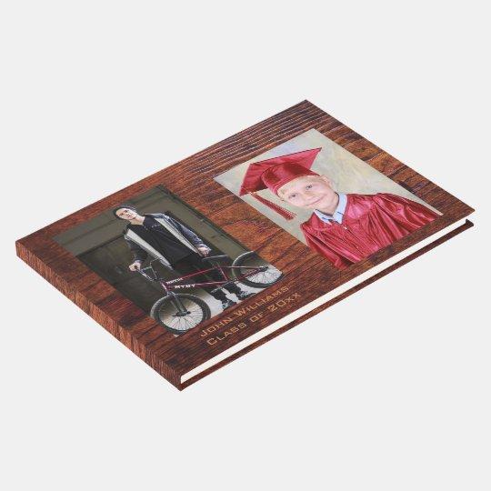 Handsome Antique Vintage Woodgrain Photo Frame Guest Book