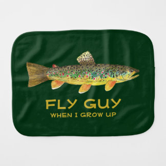 Handsome Baby Boy Brown Trout Fly Fishing Burp Cloth
