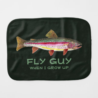 Handsome Baby Boy Rainbow Trout Fly Fishing Burp Cloth