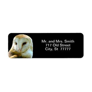 Handsome Barn Owl Profile Return Address Labels