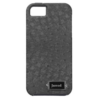 Handsome Black Ostrich Leather Look Case For The iPhone 5