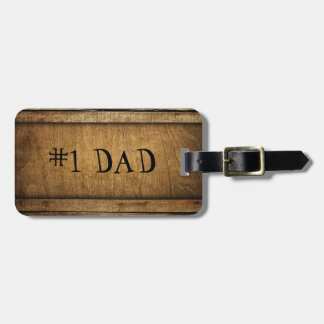 Handsome Brown Carved Wood Dad Father's Day Bag Tag