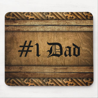 Handsome Brown Carved Wood Dad Father's Day Mouse Pad