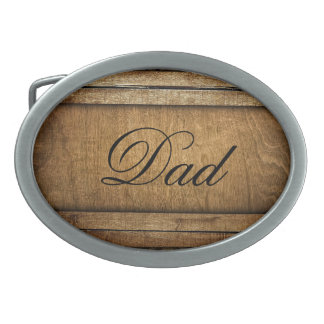 Handsome Brown Carved Wood Dad Father's Day Oval Belt Buckles