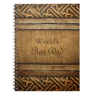 Handsome Brown Carved Wood Dad Father's Day Spiral Note Books