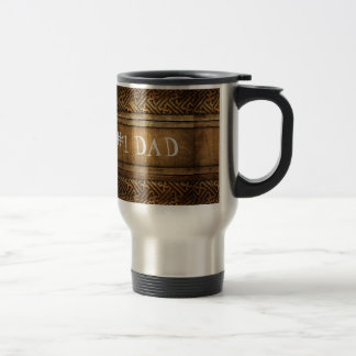 Handsome Brown Carved Wood Dad Father's Day Travel Mug