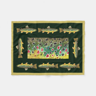 Handsome Brown Trout Fly Fishing Fleece Blanket