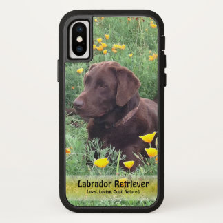 Handsome Chocolate Labrador in Flower Patch Case-Mate iPhone Case