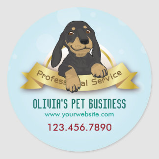 Handsome Dog Blue Pet Business Sticker