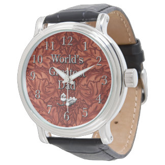 Handsome Father's Day Faux Tooled Leather Wristwatches