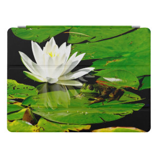 Handsome Frog with White Lily Flower iPad Pro Cover