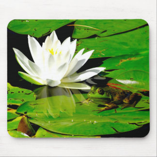 Handsome Frog with White Lily Flower Mouse Pad