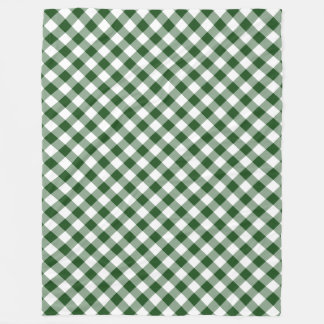 Handsome Green and White Diagonal Gingham Plaid Fleece Blanket