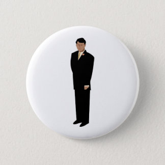 Handsome Groom in Tie 2 Inch Round Button