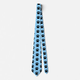 Handsome Hand Drawn Paw Prints Blue Silky Tie