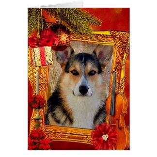 Handsome Holiday Welsh Corgi with Frame Card