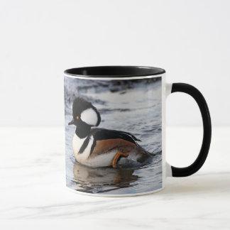 Handsome Hooded Merganser on the Move Mug