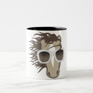Handsome Horse (sunglasses) Two-Tone Coffee Mug