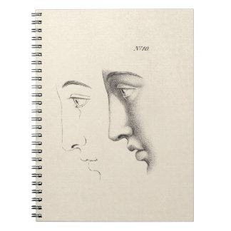 Handsome Man's Profile Antique French Engraving Spiral Notebook