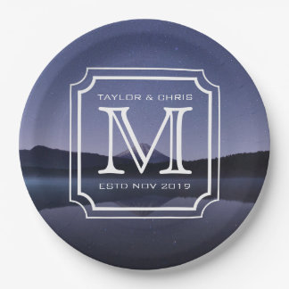 Handsome Monogram Beautiful Landscape Photo Simple 9 Inch Paper Plate