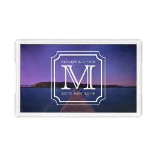 Handsome Monogram Beautiful Landscape Photo Simple Acrylic Tray