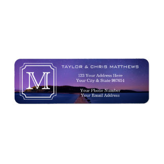Handsome Monogram Beautiful Landscape Photo Simple Return Address Label