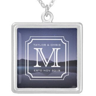 Handsome Monogram Beautiful Landscape Photo Simple Silver Plated Necklace