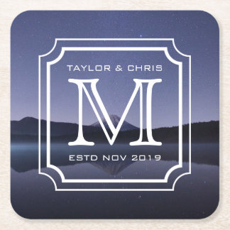 Handsome Monogram Beautiful Landscape Photo Simple Square Paper Coaster
