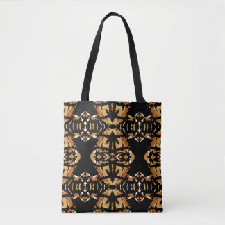 Handsome Mosaic Pattern Bag-Black/White/Rust/Tan Tote Bag