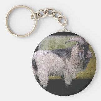 Handsome pygmy goat basic round button keychain