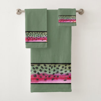 Handsome Rainbow Trout Fly Fishing Bath Towel Set