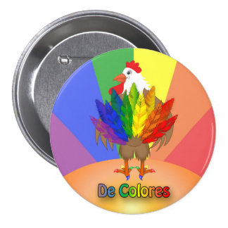 Handsome Rooster with De Colores 3 Inch Round Button