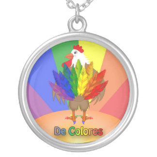 Handsome Rooster with De Colores Round Pendant Necklace
