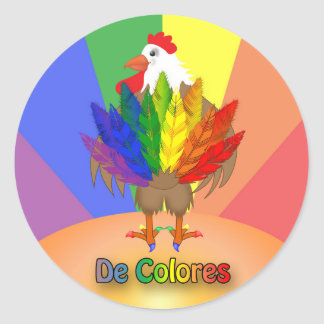 Handsome Rooster with De Colores Round Sticker