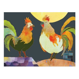 Handsome Roosters Postcard