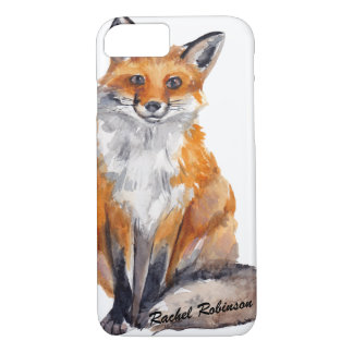 Handsome Watercolor Fox - Personalized with Name iPhone 8/7 Case