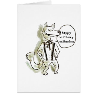 handsome wolf cartoon style illustration card