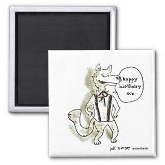 handsome wolf cartoon style illustration magnet