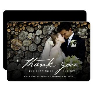 Handwrite Script Classy Photo Wedding Thank You Card