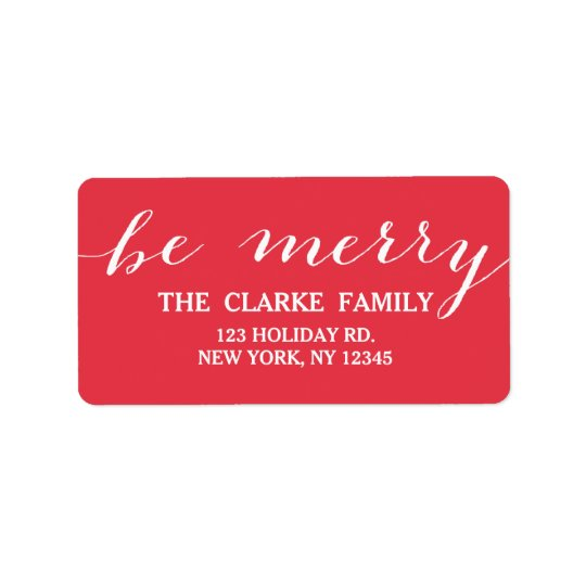 Handwriting Be Merry | Holiday Address Label