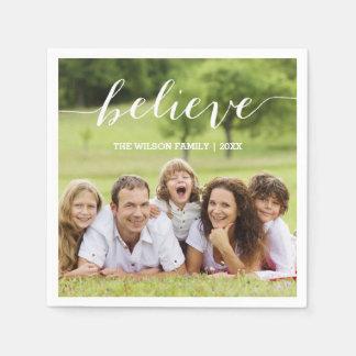 Handwriting Believe | Holiday Photo Paper Napkins