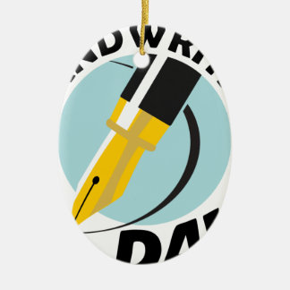 Handwriting Day - Appreciation Day Ceramic Oval Ornament