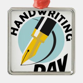 Handwriting Day - Appreciation Day Silver-Colored Square Ornament