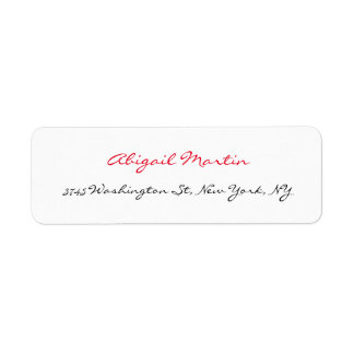 Handwriting Script Unique White Professional Return Address Label