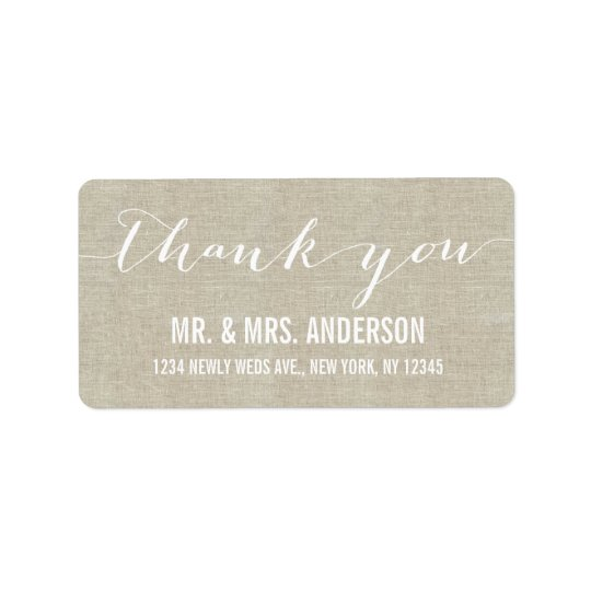 Handwriting Script Wedding Thank You Beige Linen