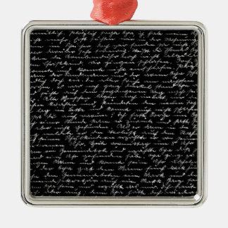 Handwriting Silver-Colored Square Ornament