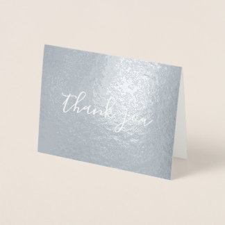 Handwriting Style Calligraphy Thank You Silver Foil Card