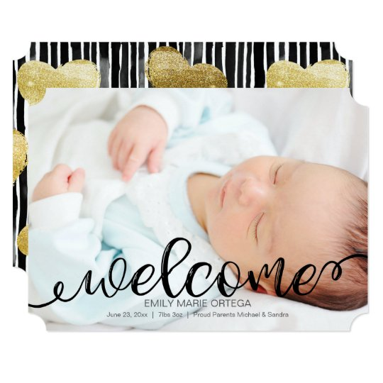 Handwritten Baby Birth Photo Announcement Card