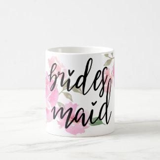 Handwritten Bridesmaid Script Pink Peonies Floral Coffee Mug